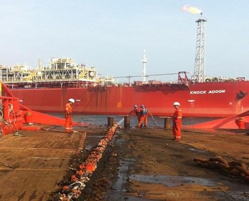 "Utleid til Fred Olsen Marine Service for hook-up av FPSO ""Knock Adoon"" - offshore Nigeria"